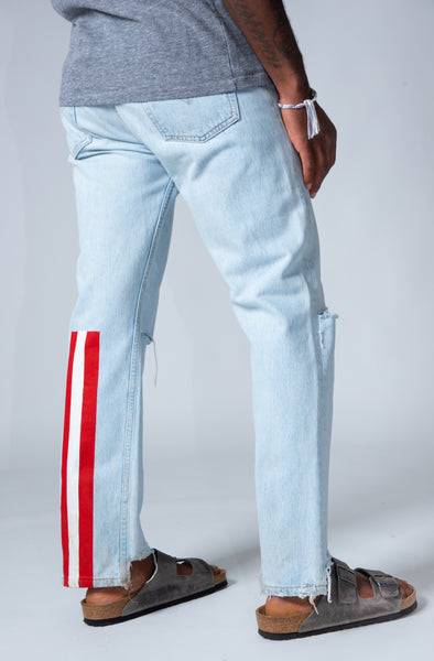 CURRENCY STRIPES DENIM JEANS