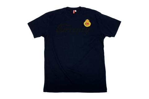 Currency Crest Script Print & Patch T-shirt