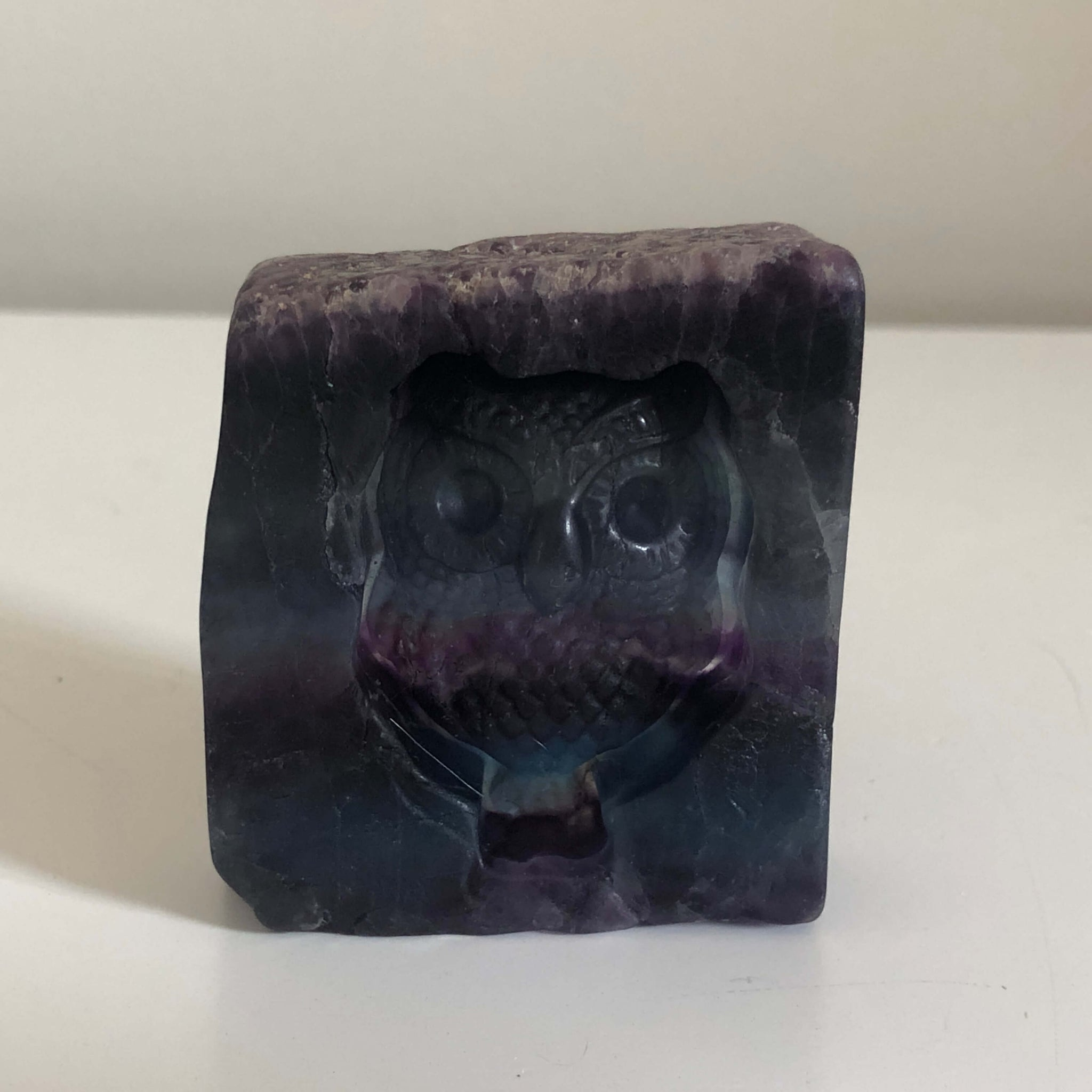 Fluorite Crystal with Owl Carving