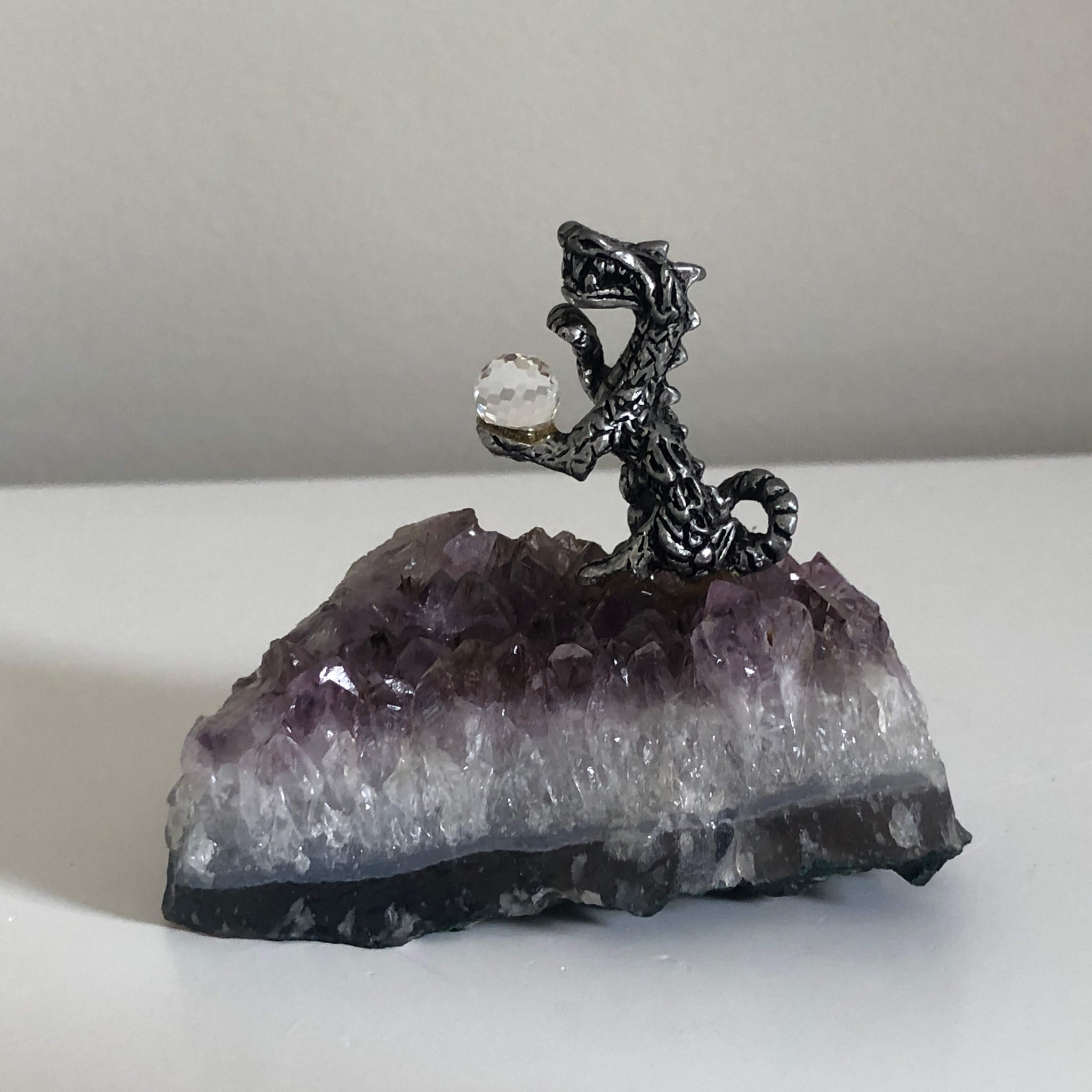 Dragon with Crystal Ball on Amethyst Cluster