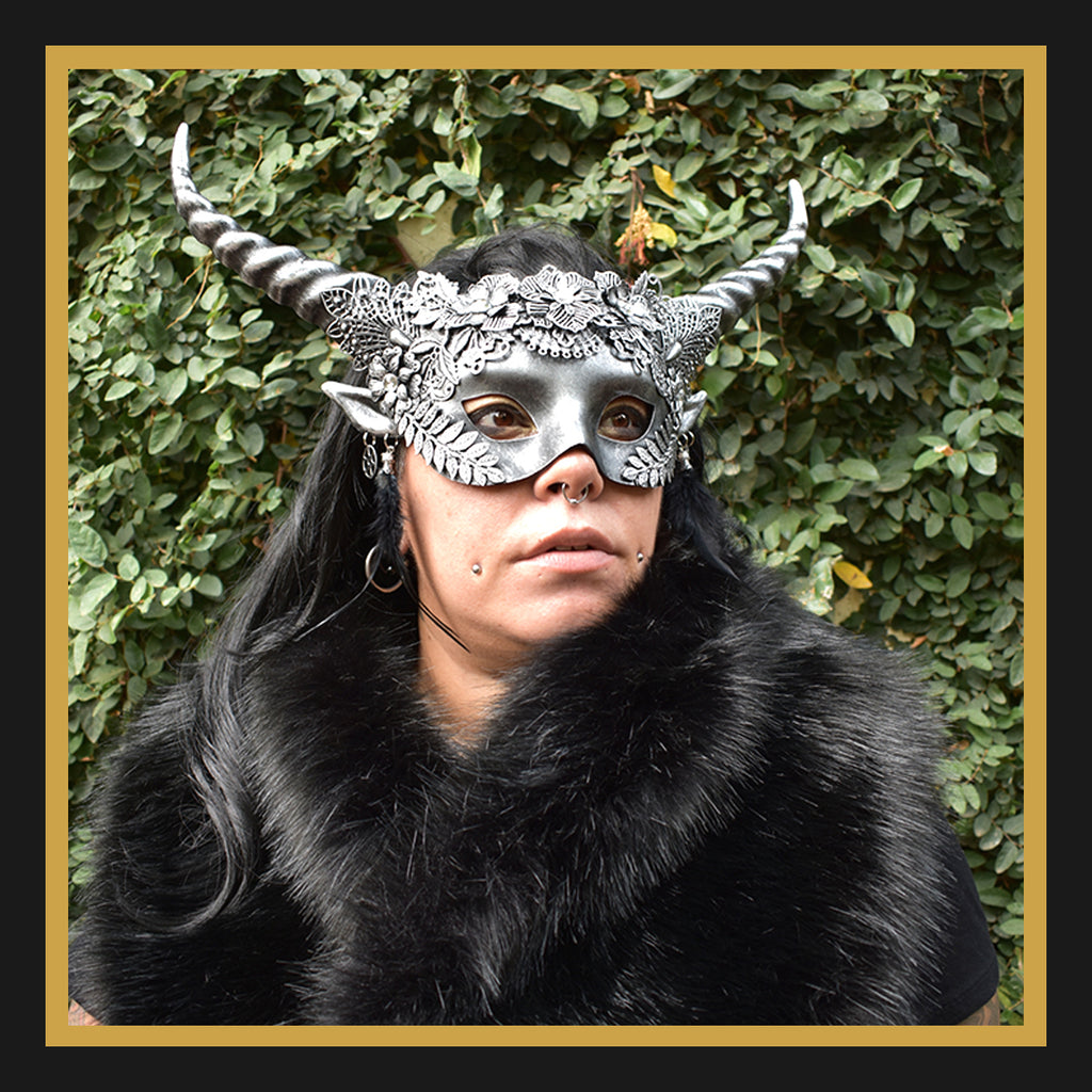 Horned Devil Half-Face Mask in Silver