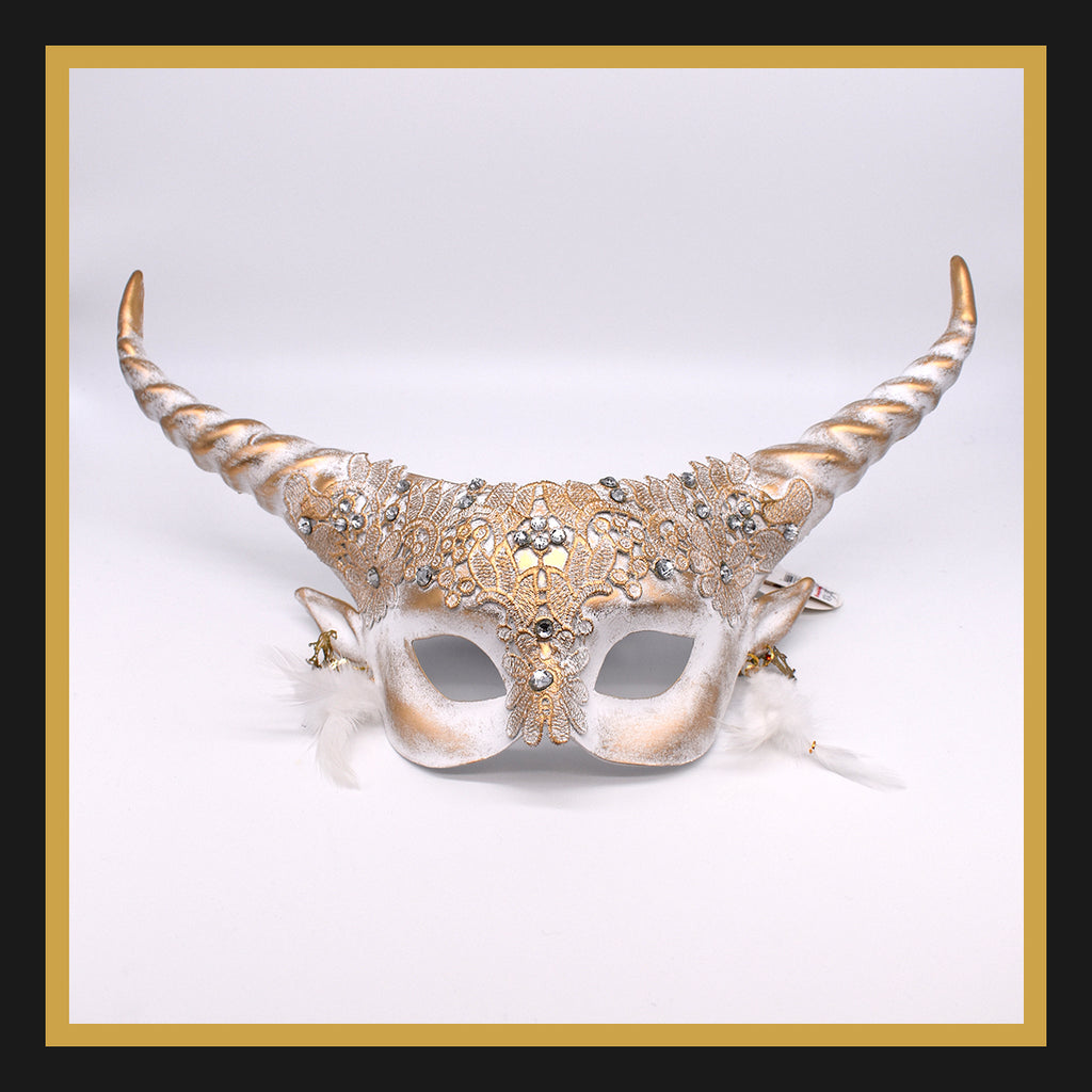 Horned Devil Half-Face Mask in White & Gold