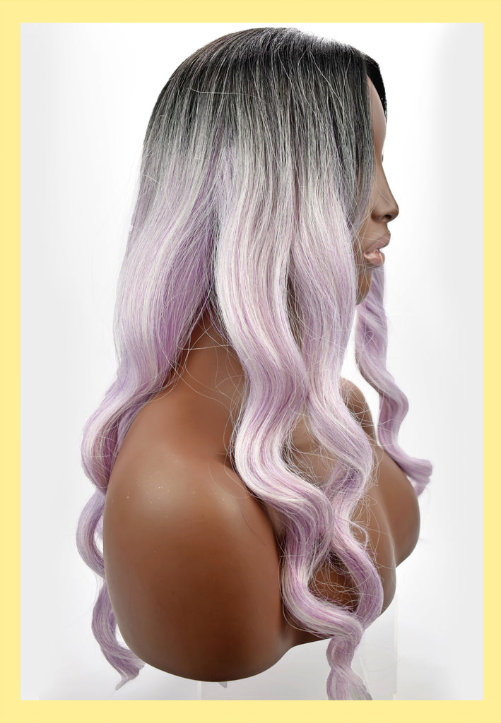 Spellbound Wig in Purple Ombre (Side)