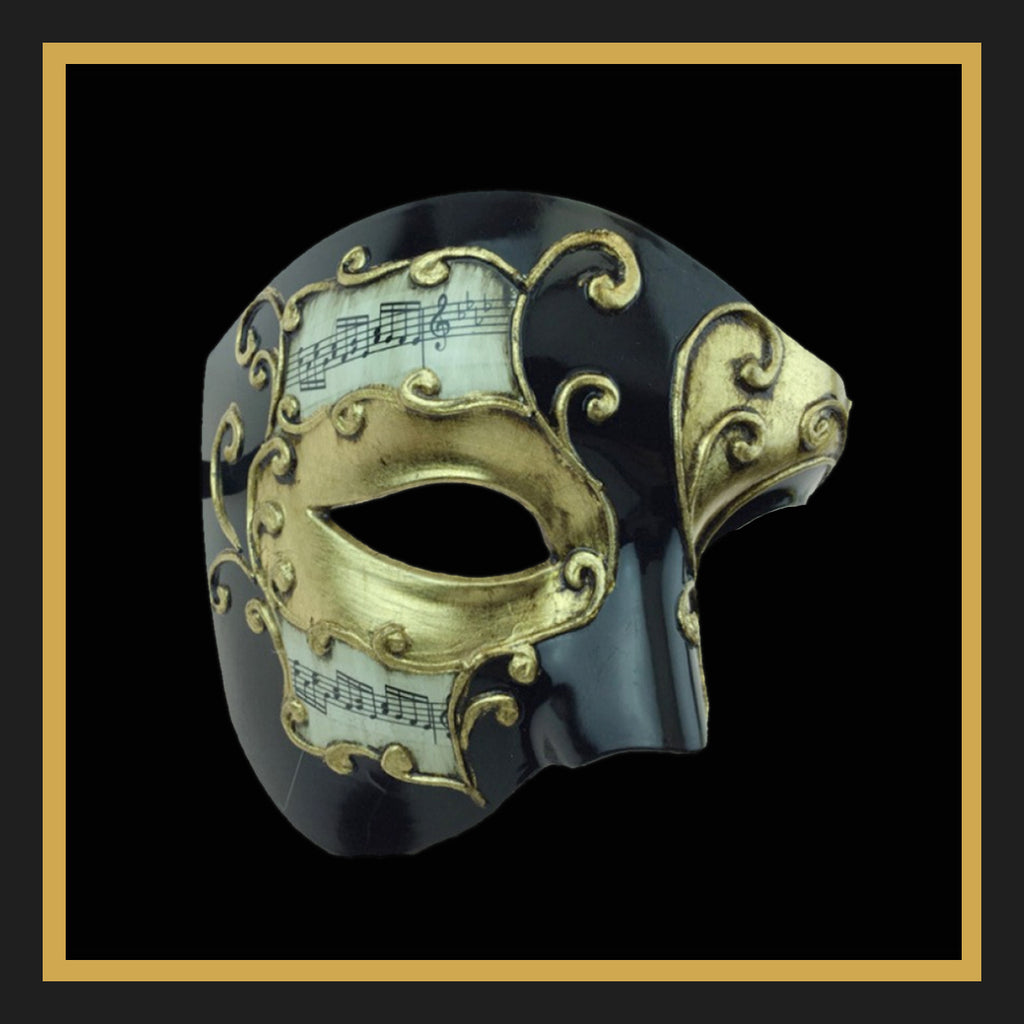 Venetian Half Face Mask in Black & Gold