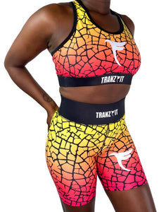 Tranzfit- Ombre Pink/Yellow Blend Sports Bra