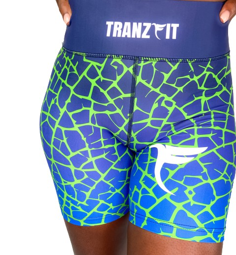 Tranzfit- Ombre Blue/Green Blend Shorts