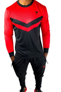 Tranzfit- Long Sleeve Jogger sets(Red/Black)