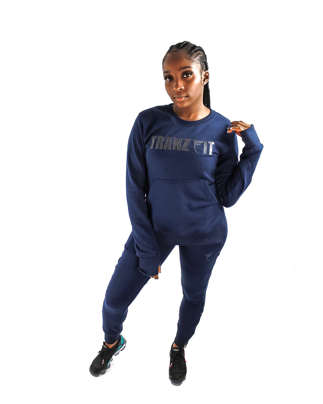 Tranzfit-Hidden Logo Crew Neck Set(Navy)