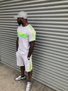 Tranzfit-Satin Stripe Set (Neon Green/Orange)