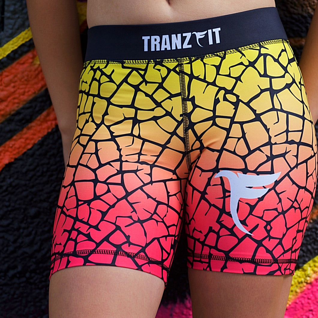 Tranzfit- Ombre Pink/Yellow Blend Shorts