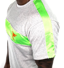 Load image into Gallery viewer, Tranzfit-Satin Stripe Set (Neon Green/Orange)