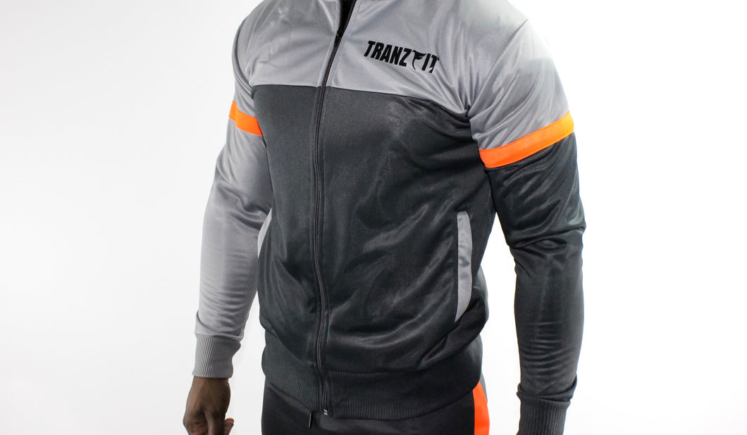 Tranzfit-Quad stripe Jogger Set (Grey,Orange)