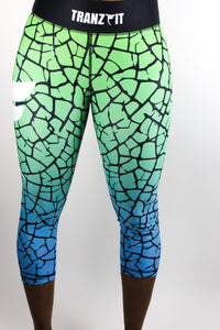 Tranzfit- Ombre Blue/Green fade 3/4 Leggings