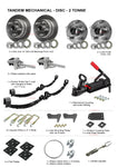 TRAILER KIT - TANDEM MECHANICAL DISC 2 TONNE ROCKER ROLLER WITH 40MM SOLID AXLES - Fineline Fabrications