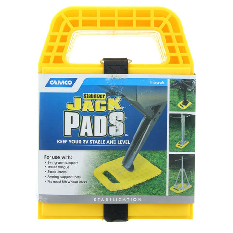Camco Stabilizer Jack Pads - 4 pack For use with Corner Stabilisers, Jacks, legs