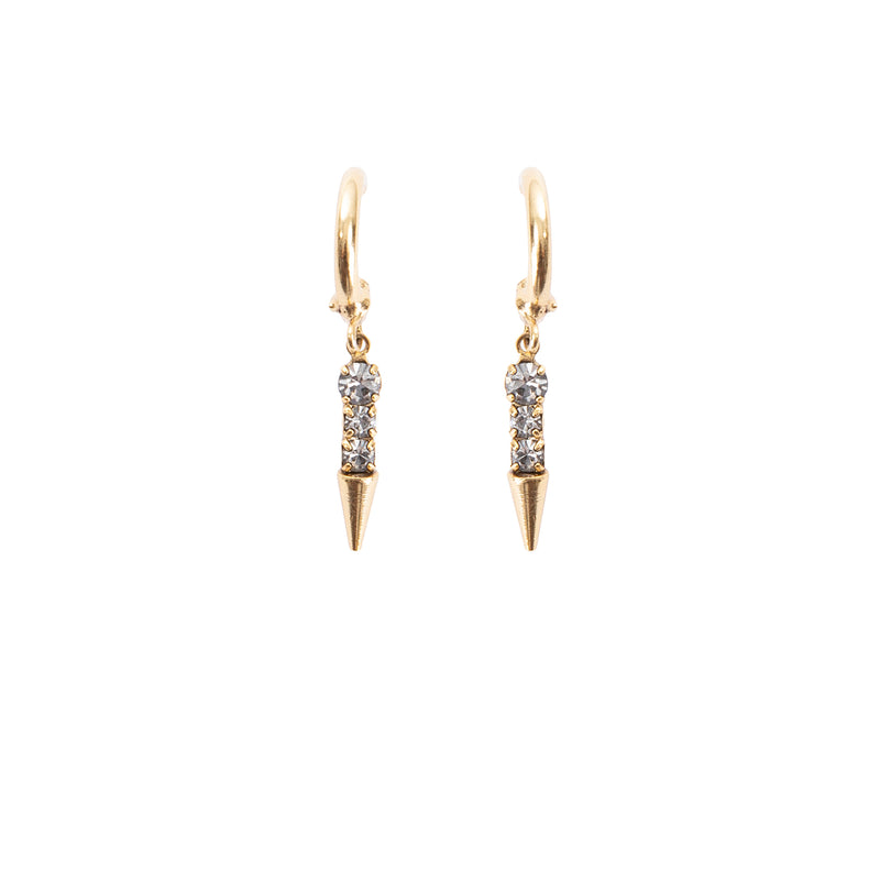 antique gold swarovski spike earring