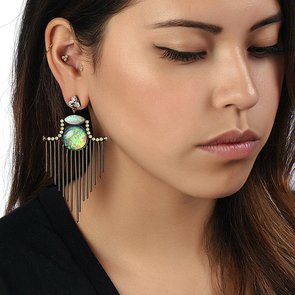 GARRETT GERSON / Aqua Crystal Earrings