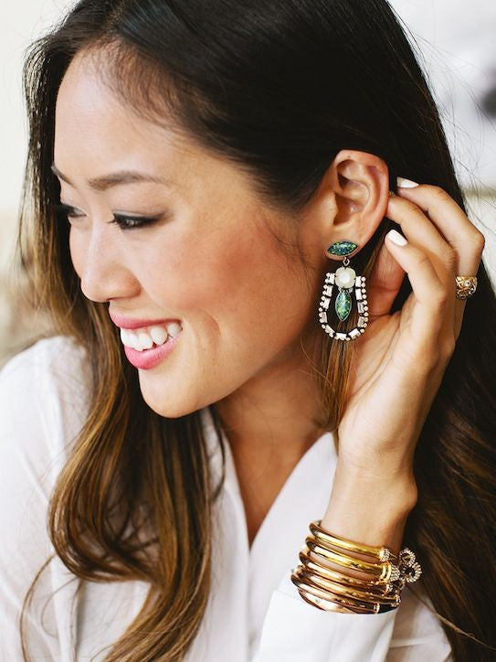 Aimee Song wearing unique Annie Earrings