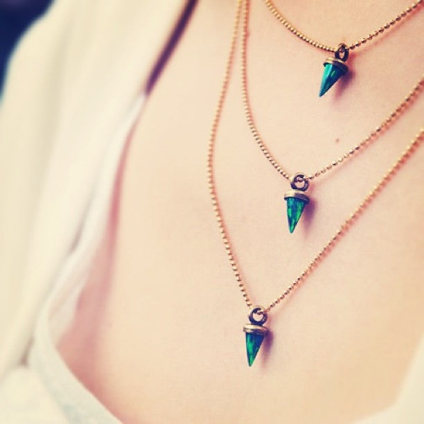 Triple Opal Spike Necklace