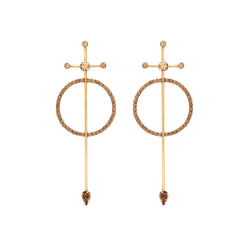swarovski crystal circle bar earring