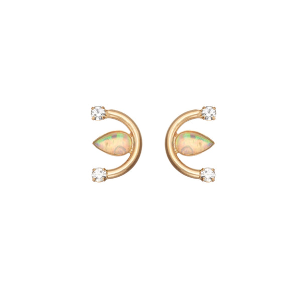gold plated delicate opal stud earring
