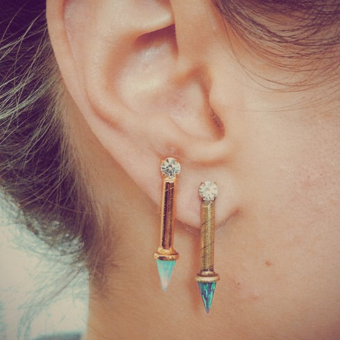 Swarovski and Opal Spike Earrings