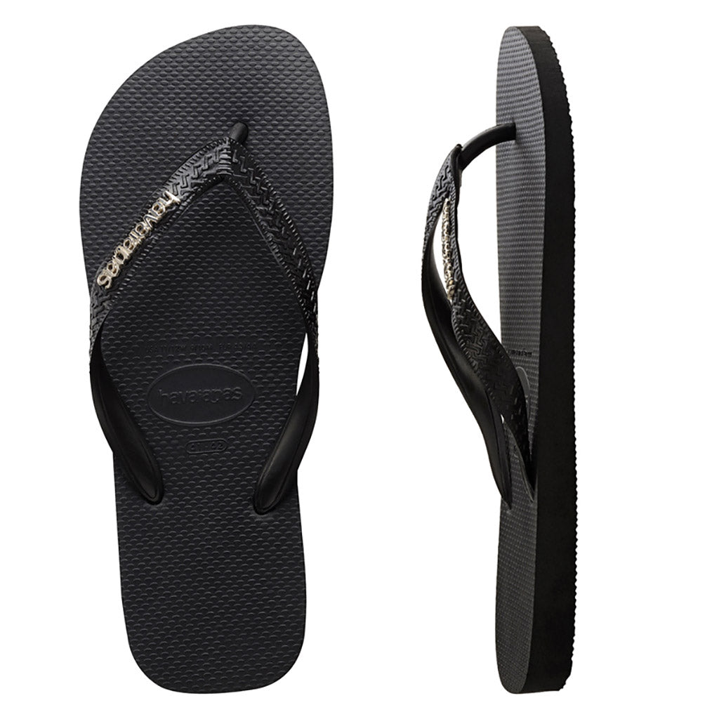 Havaianas Metal Logo Black/Silver Thongs