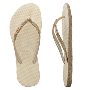 Havaianas Slim Sparkle Gold Thongs