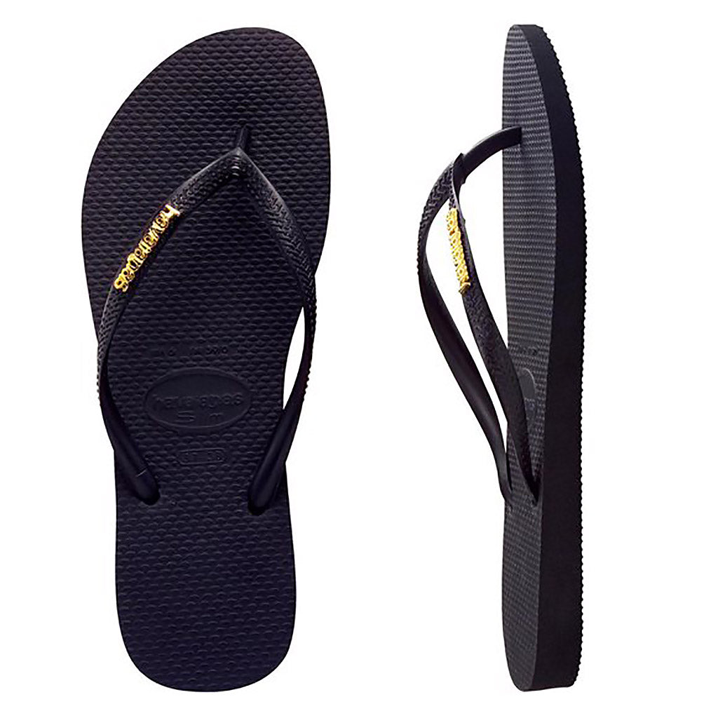 Havaianas Slim Metal Logo Black/Gold Thongs