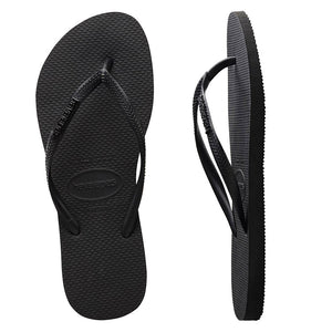Havaianas Slim Metal Logo Rock Black/Black Thongs