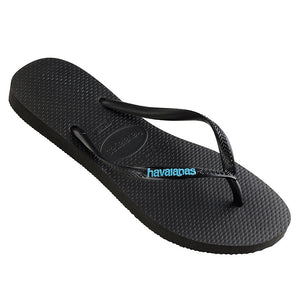 Havaianas Slim Rubber Logo Black/Blue Thongs