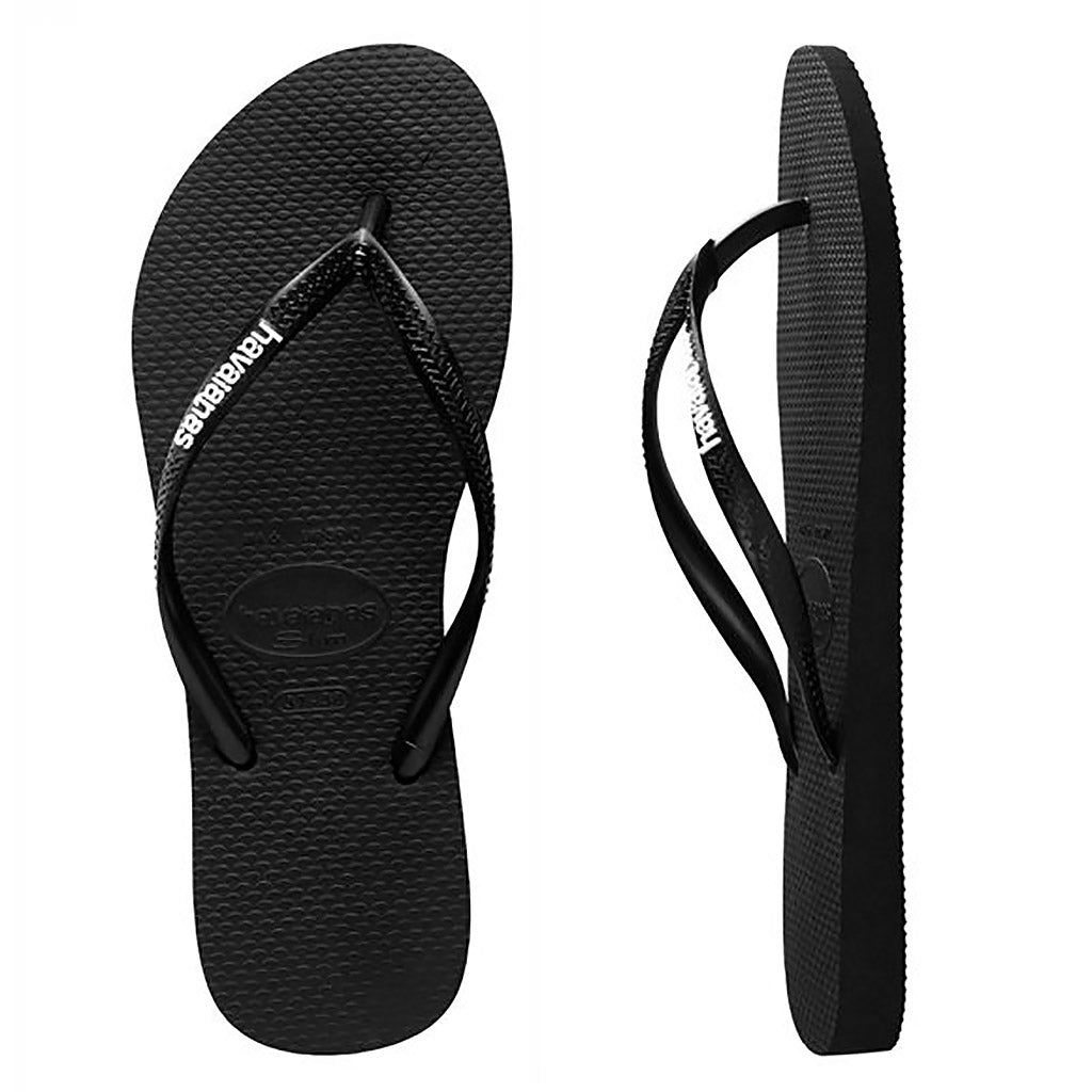 Havaianas Slim Rubber Logo Black/White Thongs