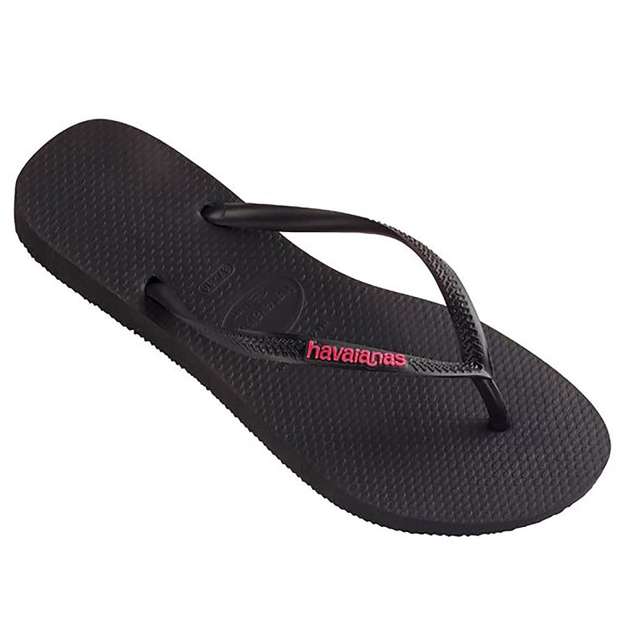 Havaianas Slim Rubber Logo Black/Pink Thongs