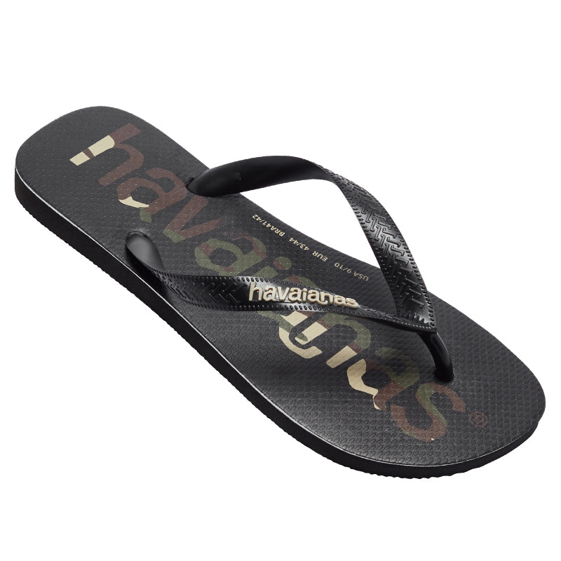 Havaianas Top Logo Mania Black-Black-White Thongs