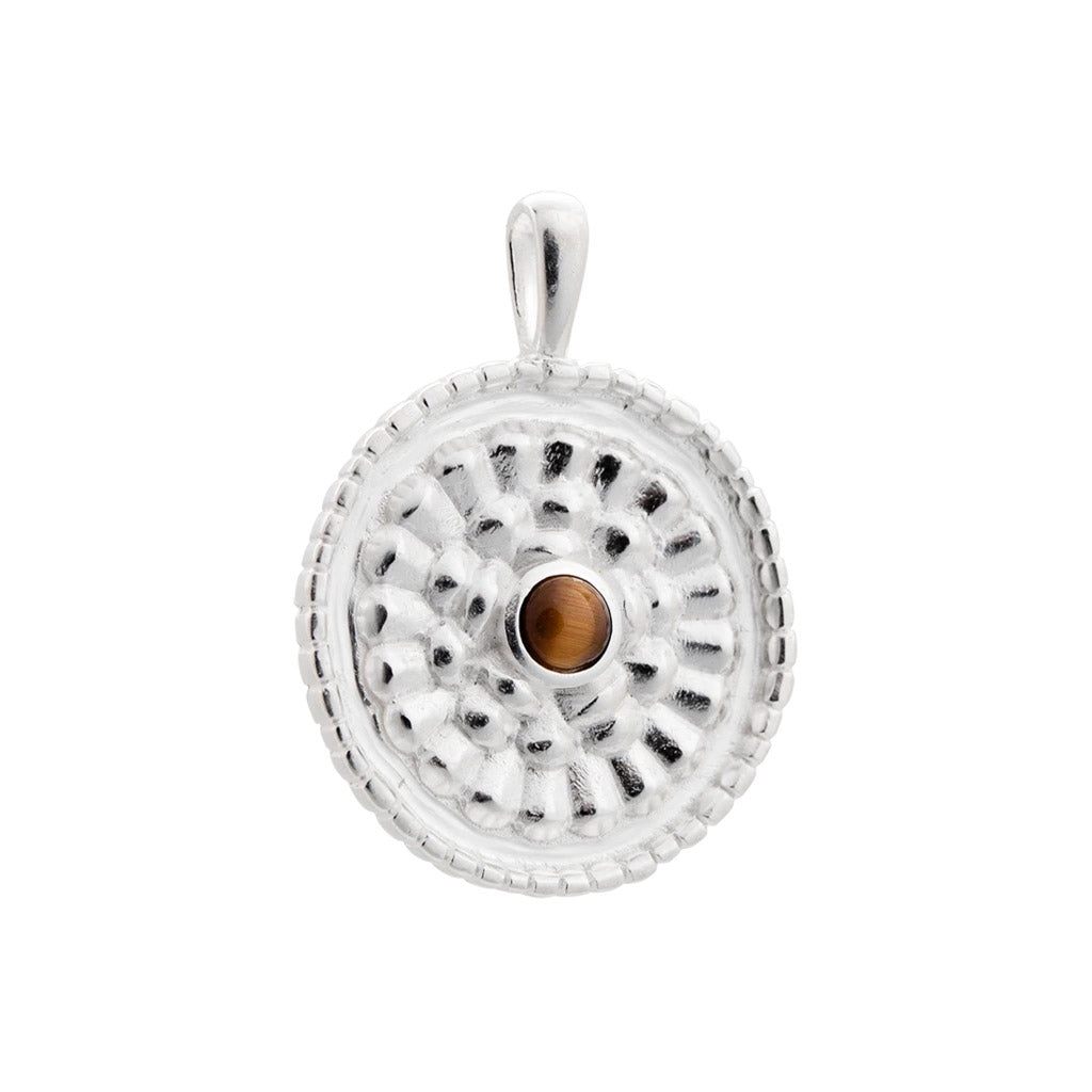 Kirstin Ash Tiger's Eye Coin - Sterling Silver