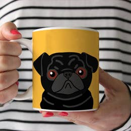 Black Pug on Yellow Ceramic Mug 15 oz