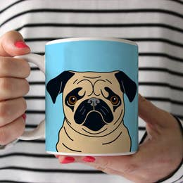 Fawn Pug on Blue Ceramic Mug 11 oz