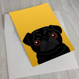 Black Pug on Yellow Greeting Card 5 X 7""