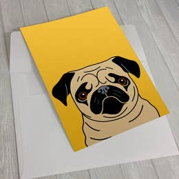 Fawn Pug on Yellow Greeting Card 5 X 7""