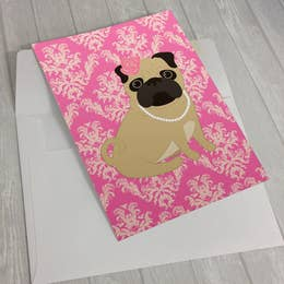 Pink Pug in Pearls Greeting Card 5 X 7""