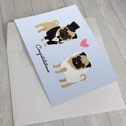 Wedding Pugs Greeting Card 5 X 7""