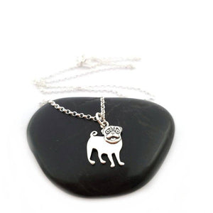 Dainty Sterling Silver Pug Necklace