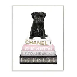Glam Pet and Designer Bookstack Oversized Wall Plaque Set. Black Pug Bookstack