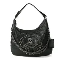 Studded Skull Hobo Bag