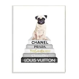 Glam Pet and Designer Bookstack Oversized Wall Plaque Set. Fawn Pug Bookstack