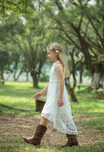 Load image into Gallery viewer, Bow Dream Boho Girls Lace Dress Sleeveless High-Low Party Occasions