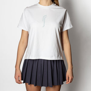 WOMEN´S CROP T-SHIRT - WHITE W. SILVER REFLECTIVE RS LOGO