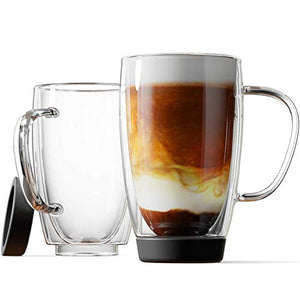 Stone & Mill Double Walled Insulated Glass Coffee Mugs, Silicon Base, Non slip for Espresso, Latte, Cappuccino, Thermo Glassware, 15 ounce, Set of 2, Gift-boxed - AM-13-SB
