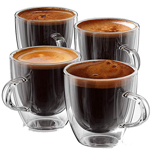 Espresso Cups 5 oz - Set of 4 - Double Wall with Handle