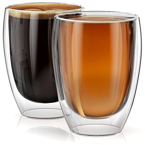 12 oz Cups Verona Collection - Set of 2, Double Walled Glass Coffee Cups